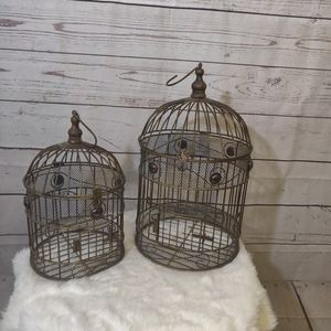 Set of 2 Metal Decorative Bird Cages